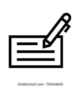 Pen writing on a check line vector icon. Checking account simple illustration. Payment method symbol. Pixel perfect EPS file. Isolated on white background.