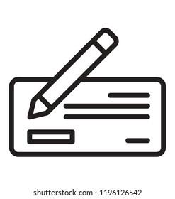 Pen writing on cheque icon design, cheque icon concept