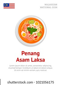 Penang Asam Laksa. Traditional malaysian dish. View from above. Vector flat illustration.