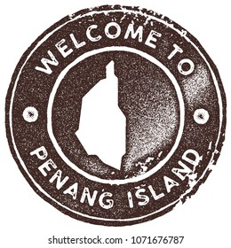 Penang Island map vintage stamp. Retro style handmade label, badge or element for travel souvenirs. Brown rubber stamp with island map silhouette. Vector illustration.