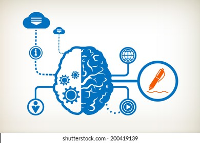 Pencil and abstract human brain, the concept of the information movement