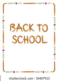 """Pencil, apple, and text border to fit 8.5"""" x 11"""" paper with """"Back to School"""" lettering made from pencils"""