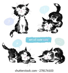 Pencil black sketches of four cute cats isolated on white backdrop. Illustration with pretty kittens and color bubbles. Hand drawing animals.
