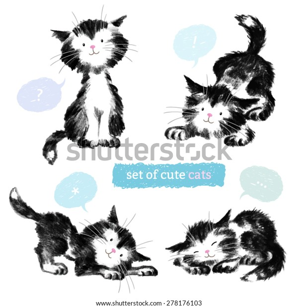 Pencil Black Sketches Four Cute Cats Stock Vector Royalty