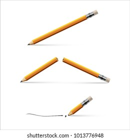 Pencil, broken pencil and pencil with a broken tip isolated on white background. Vector realistic illustration.