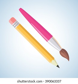 Pencil and brush. Flat style paint and writing art tools vector set