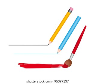 pencil and brush isolated over white background. vector
