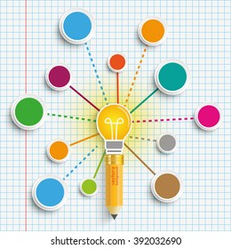 Pencil and bulb with connected circles on the checked paper background. Eps 10 vector file.