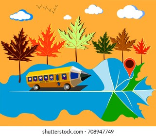 Pencil Bus Driving Kids to School Along Map Road with Beautiful Autumn Landscape. Back to School Concept. Vector Illustration