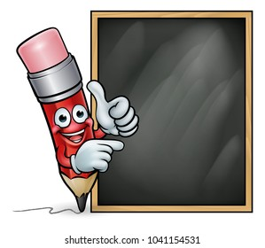 A pencil cartoon character education mascot  pointing at a school blackboard and giving a thumbs up