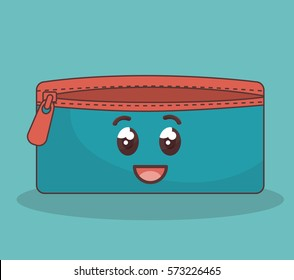 Pencil case with pen and colors Royalty Free Vector Image