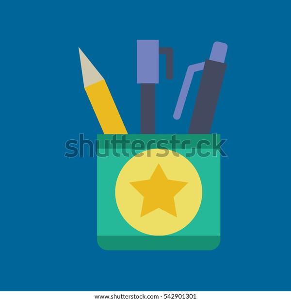 pencil case icon flat disign