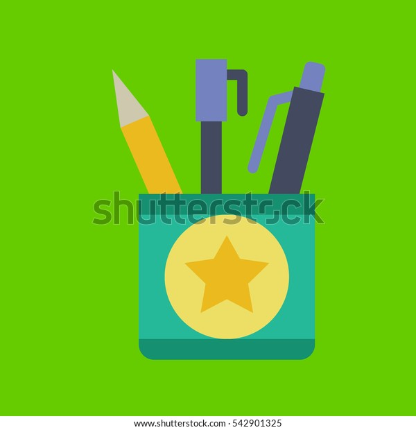 pencil case icon flat disign