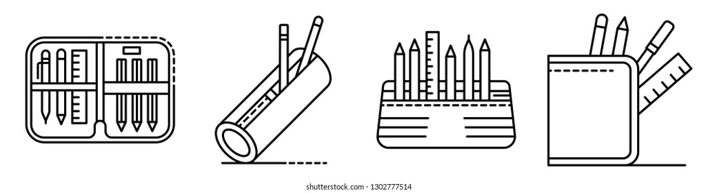 Icônes de majuscule définies. Ensemble d'illustrations d'icônes vectorielles au crayon pour le design web isolées sur fond blanc