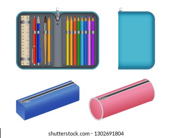 Pencil case icons set. Realistic set of pencil case vector icons for web design isolated on white background