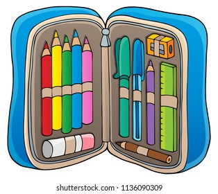 Pencil case theme image 1 - eps10 vector illustration.