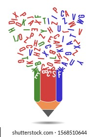 Pencil and chaotic scattered letters, vector illustration