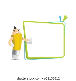 Pencil character cartoon design and text box frame for message illustration vector. Education concept.