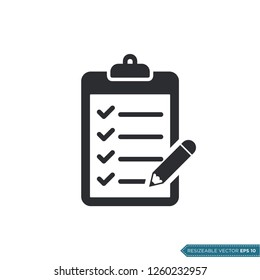 Pencil and Clipboard Icon Vector Template