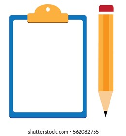 pencil  and clipboard vector.for Vector modern flat illustration on hands holding clipboard with empty sheet of paper and pencil Clipboard with  blank paper and pencil in the hands of  man.clipboard