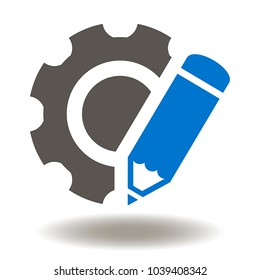 Pencil Cogwheel Icon Vector. Engineering Developing Designing Illustration. Education Service Methodology Agile Development Tools Logo. Learning Process Industrial Symbol.