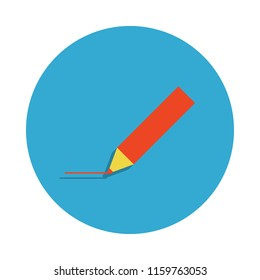 pencil colored in blue badge icon. Element of school icon for mobile concept and web apps. Detailed pencil icon can be used for web and mobile