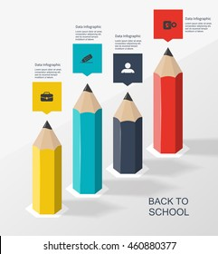 pencil column infographics, school knowledge graph