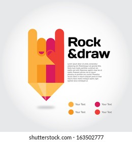 Pencil with cool gesture symbolizing ideas with place for text