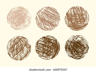 Pencil and crayon like kid`s drawn brown halftone round design elements. Like child`s drawn pastel chalk circle background. Kid`s like painting coffee color sphere. Set of hand drawing round banner.