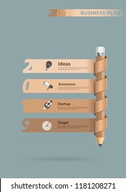 Pencil creative Info graphics banner new year 2019 calendar cover design business plan idea concept, Vector illustration layout template