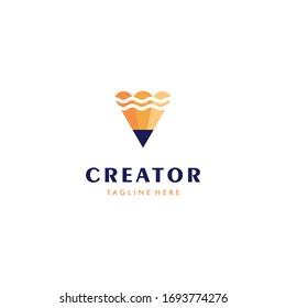 Pencil creator innovation logo design icon illustration