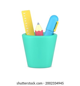 Pencil cup 3d realistic icon. Yellow ruler with pink sharpened pencil and blue pen. Convenient placement in green cup of items with quick creative application. Vector volumetric icon template