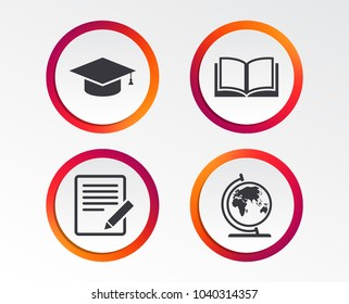 Pencil with document and open book icons. Graduation cap and geography globe symbols. Learn signs. Infographic design buttons. Circle templates. Vector