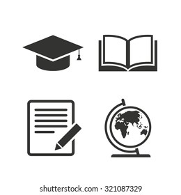 Pencil with document and open book icons. Graduation cap and geography globe symbols. Learn signs. Flat icons on white. Vector