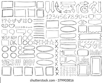 Pencil doodles effect. Simple doodling collection. Drawn symbols, numbers, arrows and frames set. Vector illustration. Line art signs and symbols.