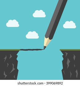 Pencil drawing a bridge above abyss between cliffs. Conquering adversity, business success, bridging the gap concept. EPS 8 vector illustration, no transparency