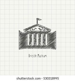 Pencil drawing of the British Museum monument. Architectural sketch imitating chalk drawing on a grid paper. World Famous monument scribble vector illustration.