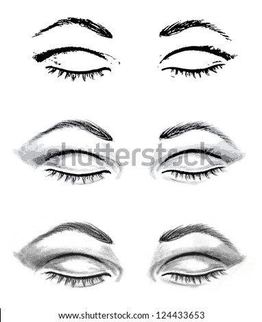 pencil drawing closed eyes autotraced realistic stock vector