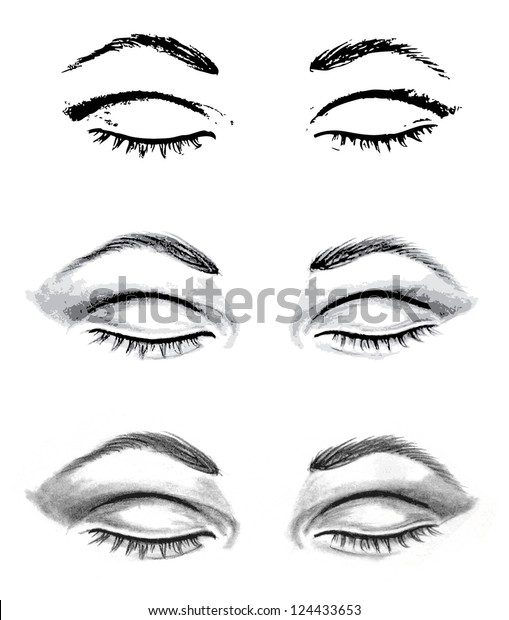 Realistic Drawing Eyes Closed