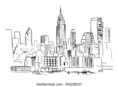 Pencil drawing of a landscape with set of skyscrapers in New York - in vector