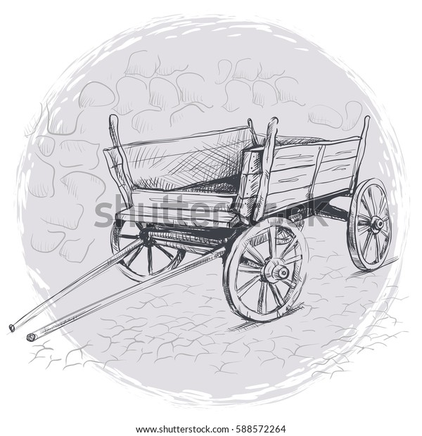 Pencil Drawing Old Cart On Gray Stock Vector Royalty Free