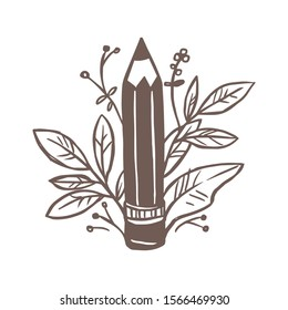 Pencil for drawing and writing with flower bouquet, plants, foliage and leaves. Vector creative concept for logo, emblem, sign or icon for art studio or gallery. Sketch freehand doodle illustration