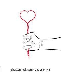 pencil drowing fist holding the red heart from the line, egoism concept, hold the love hard concept,