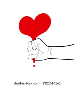 pencil drowing fist holding the red heart from the line, egoism concept, press the love hard concept,
