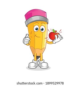 pencil eating an apple illustration. character vector