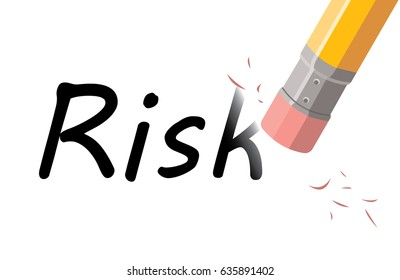 pencil with eraser deleting word RISK