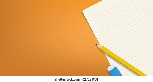 The pencil and eraser is placed above the line paper on a orange background illustration vector, Education concept