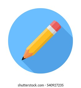 Pencil. Flat Design vector icon. Pencil on blue background with shadow