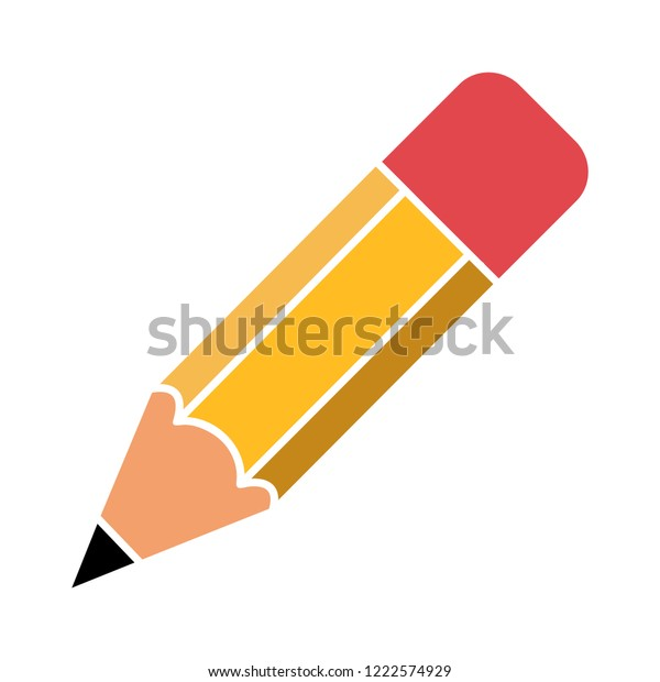 Pencil flat icon - school Pencil symbol. vector education illustration, stationery drawing tool isolated - sketch sign symbol