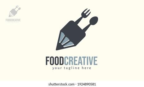 Pencil fork spoon logo design.  Vector